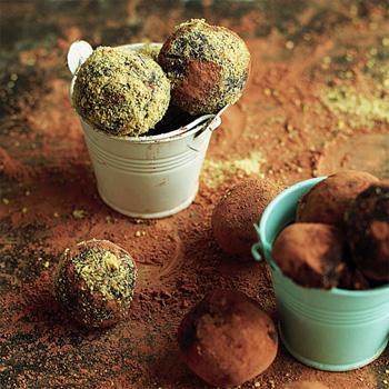 Шоколадно-фисташковые трюфели
