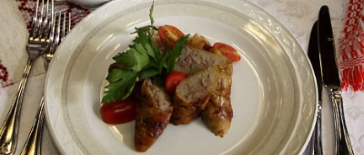 Домашняя колбаса с картофелем